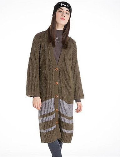 Polyester Simple Cardigan Casual Winter Long Print Solid Daily Cotton Long Green Wool Neck Fall V Xuanku Thick elastic Sleeves Women's Micro nwtqXBxX6