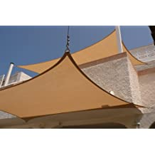 MTN Shadesmith 11.5'x11.5' Deluxe Square Sun Sail Shade (Color: Sand) with Hardware