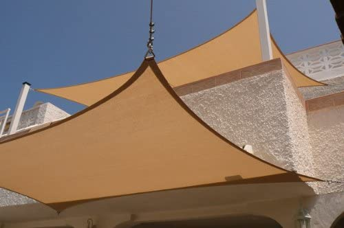 New Deluxe 24×24 Square Sun Sail Shade Canopy Top Cover Sand Green Red Sand