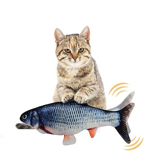 EKKONG Spielzeug mit Katzenminze, Elektrische Fische Katze, Katze Interaktive Spielzeug, Simulation Plush Fisch, Kissen Kauen Spielzeug für Katze für Katze, Kitty