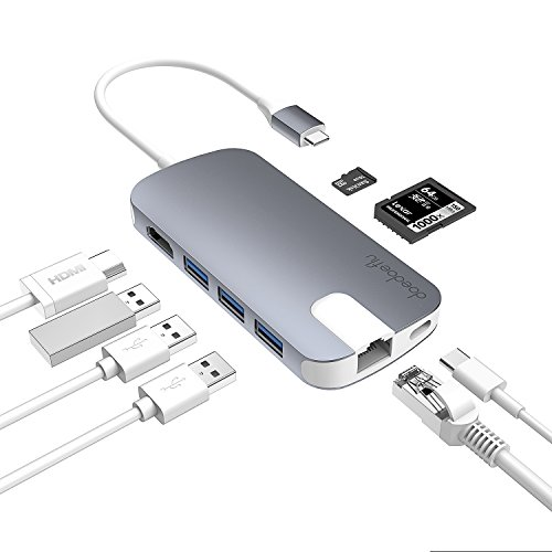 USB C Hub Multiport Adapter 3.1 Type C Dock Station with 4K HDMI, SD Card Reader, PD Charger Port, Gigabit Ethernet, 3 USB 3.0 Ports for Apple Macbook Pro 2017, Dell XPS 13, Google Chromebook (gray) by doedoeflu