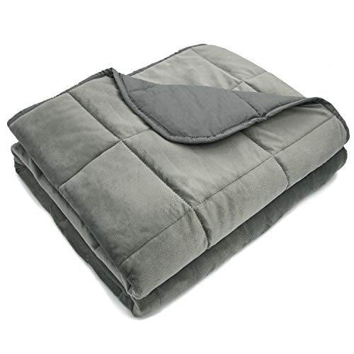 Cheap MARQUESS Weighted Blanket-48 x72 12 lbs for Adults About 140-200 lbs Microflannel Polyester Cover Cotton Lining Premium Glass Beads Reduced Pressure Enjoy Natural Deep Sleep Reverse Black Friday & Cyber Monday 2019