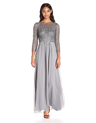 Decode 1.8 Women's 3/4 Sleeve Beaded Illusion Gown with Sequins, Silver, 14