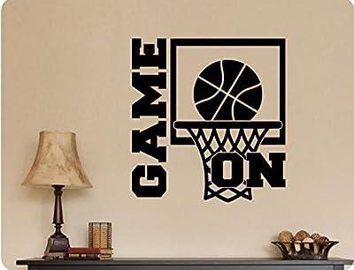 "24""x24"" Basketball Goal GAME ON Hoops Net Team Sign Art Sports Players Wall Decal Sticker Art Mural Home DŽcor Quote"
