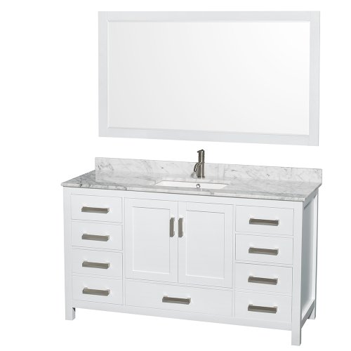 Wyndham Collection Sheffield 60 inch Single Bathroom Vanity in White, White Carrera Marble Countertop, Undermount Square Sink, and 58 inch Mirror