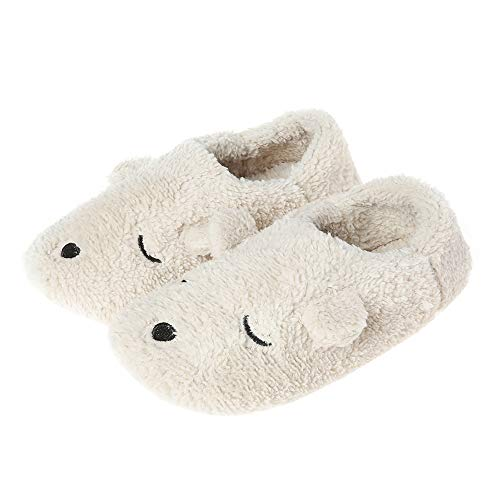 Warm Cartoon Slippers for Women Indoor Fleece Plush Non Slip Dedroom Winter Booties Beige 7-8.5 M US