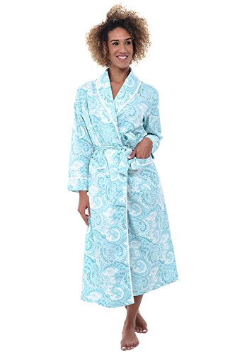 Alexander Del Rossa Womens Cotton Robe, Lightweight Woven Bathrobe, Large Light Blue Paisley (A0515R53LG) (Cotton Nursing Coat)