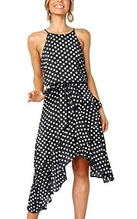 ECOWISH Womens Polka-dot Laced Irregular Cocktail Dress Sleeveless Neckholder Sexy Sundress Black S