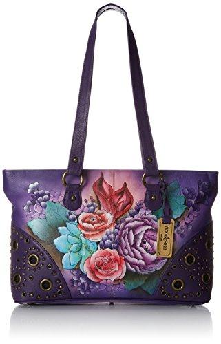 Anuschka Women's Genuine Leather Shoulder Bag |Hand Painted Original Artwork |Double Zip Entry Shopper | Lush Lilac - Double Entry Shopper
