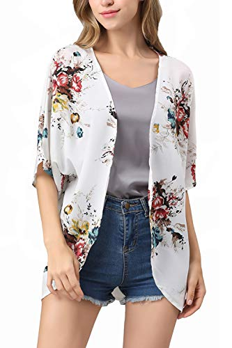 RJXDLT Womens Floral Print Kimono Cardigan Loose Puff Sleeve Cardigans Patchwork Cover Up Blouse Top White 2XL 220