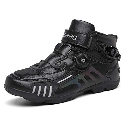 MRDEAR Motorradschuhe Sneaker Herren Schwarz mit Einstellknopf, Motorrad Schuhe Atmungsaktives Motorrad Stiefel…