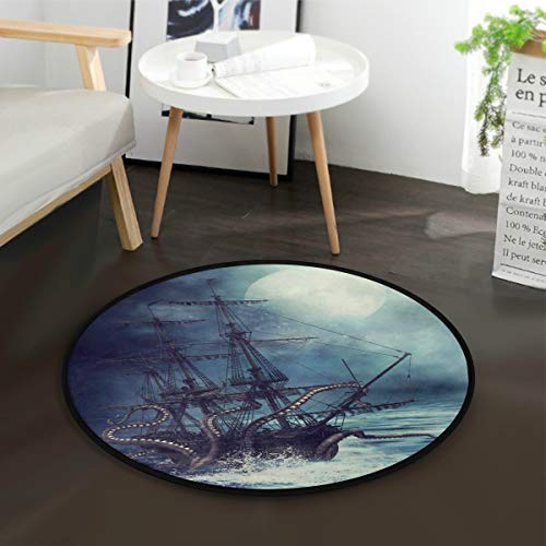 ALAZA Octopus Night Scene Pirate Ship Round Area Rug for Living Room Bedroom 3' Diameter(92 cm)