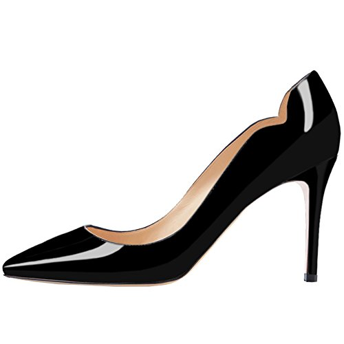 (June in Love Women's Middle Heels Shoes Pointy Toe for Daily Usual Girls Lady Pumps 5-Black11 US)