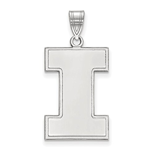 925 Sterling Silver Officially Licensed University College of Illinois XL Pendant (30 mm x 15 mm) by Mia Diamonds and Co.