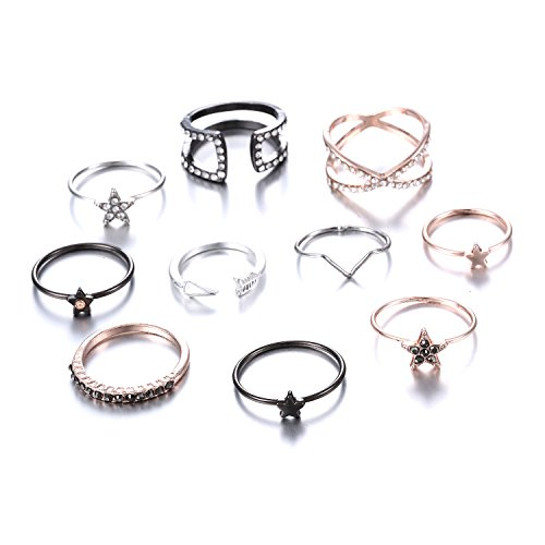 EAN Fashion Crystal Joint Nail Ring Set Vintage Bohemian Various Styles Finger Rings Punk Ring Gift by EAN