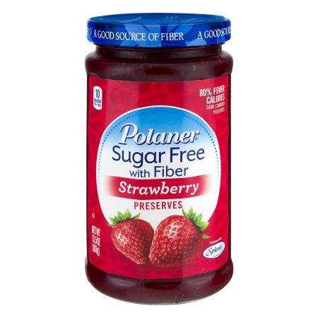 - Polaner Strawberry, Sugar Free With Fiber Preserves, 13.5oz