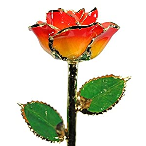 Allmygold Jewelers Sunset Rose 24K Gold Dipped Long Stem Genuine Rose in Gift Box 36