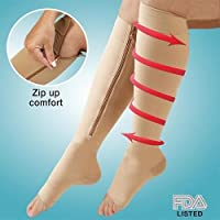 Zippered Compression Knee Socks Supports Stockings Leg Open Toe 23-32mmHg Zipper (MEDIUM, BEIGE)