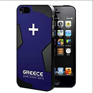 Greece World Cup 2014 Professional Soccer Sports Team with Blue and Black Soccer Ball Background Hard Snap on Cell Phone Case Cover iPhone (4 4s)