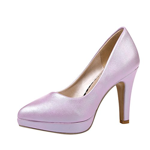 Latasa Womens Fashion Pointed-toe High Heel Dress Pumps Purple