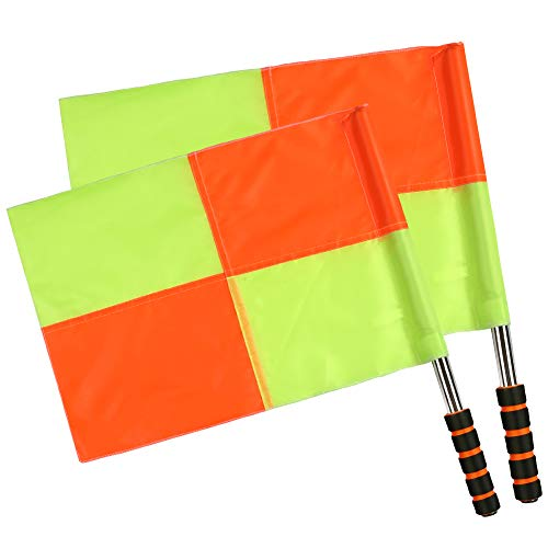 Shinestone Soccer Referee Flag Sports Match Football Linesman Flags with Case Referee Equipment-2 Designs (01) (Soccer Referee Flags)