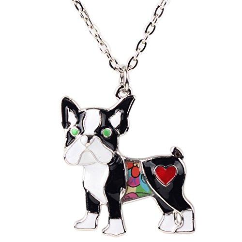 Bonsny Love Heart Enamel Zinc Alloy Metal Pug Dog Necklace Bulldog Animal pendant Unique Design (black)