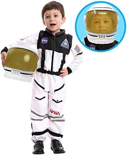 Astronaut NASA Pilot Costume with Movable Visor Helmet for Kids