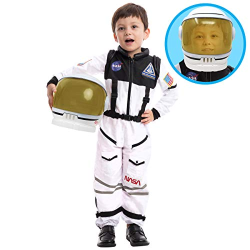 Space Suit Halloween Costume (Astronaut NASA Pilot Costume with Movable Visor Helmet for Kids, Boys, Girls, Toddlers Space Pretend Role Play Dress Up, School Classroom Stage Performance, Halloween Party Favor (Medium)