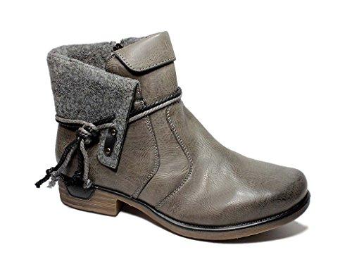 Damen Winterstiefel Stiefeletten Boots gefüttert komfort Freizeit Damenschuhe 36-41 Grau