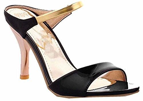 Fashion High Heels Flop Flips Gladiator Sandalen für Frauen öffnen Zehe-Plattform 4 Farben Sandalen Sommer Schuhe schwarz