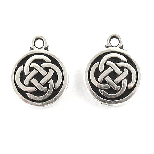 - TierraCast Pewter Charms-ANTIQUE SILVER CELTIC ROUND (2)