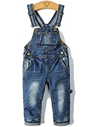 Child Stretchy Big Bibs Front Soft Jeans Overall