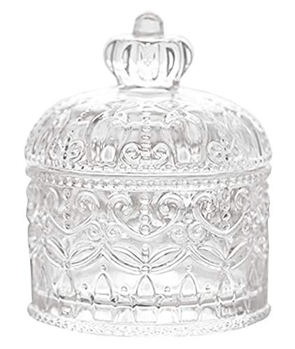FUYU Exquisite Embossed Crystal Glass Candy Box with Lid Food Jewelry Box Storage Jar