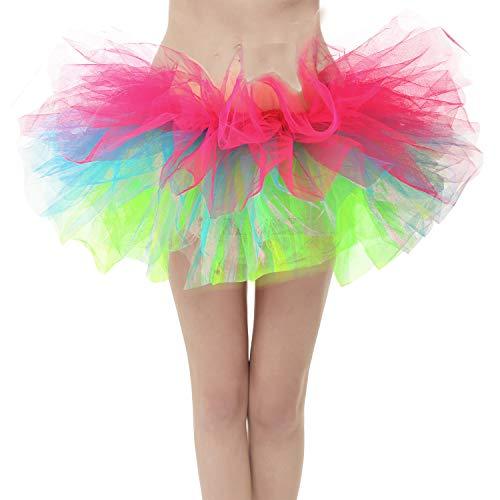 Girstunm Women's Classic Layers Fluffy Costume Tulle Bubble Skirt Rainbow-Plus Size]()