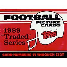 1989 Topps Traded Football Complete Mint 132 Card Set in Original Factory Set Box. Featuring Rookie Cards of Barry Sanders, Troy Aikman, Derrick Thomas, Deion Sanders and Many ()