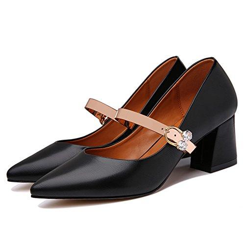 KPHY Retro Mary Jane Shoes Hembra Gruesa Spring Single Buckle Único Zapato Puntiaguda Boca Superficial 6 Cm Zapatos De Tacon Alto. black