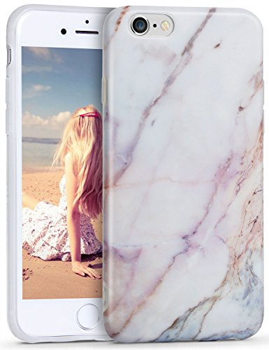iPhone 6s Plus Case, Imikoko™ Flexible Case Print Crystal for iPhone 6s Plus (5.5 inch Display) - White Marble Pattern Slim Fit Snap On Hard Shell Back Case For iPhone 6/6S Plus (Pink/Gold)