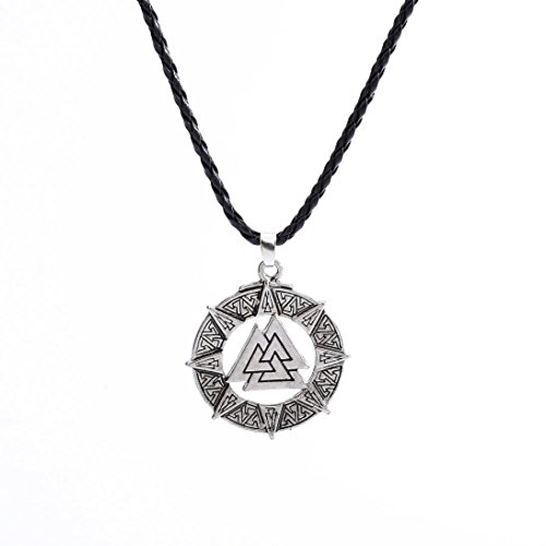 Clearance Men Pendant Necklace Slavic Norway Valknut Pagoda Amulet Jewelry Warrior Symbol Laimeng (Silver)
