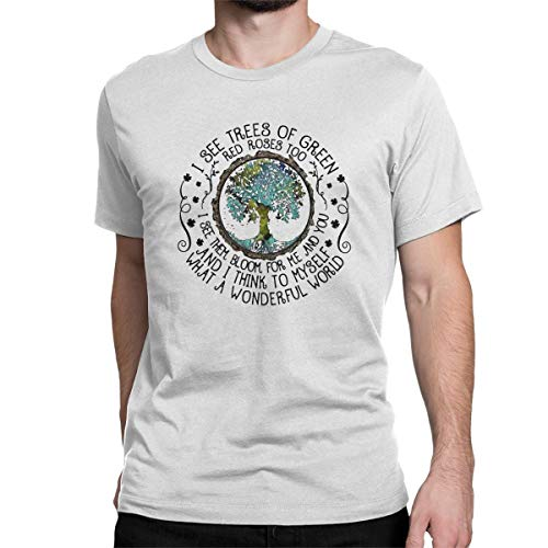 (PRINTER77 I See Trees of Green Red Roses Too I See Them Bloo T Shirt Hippie Tops Tees for Men)