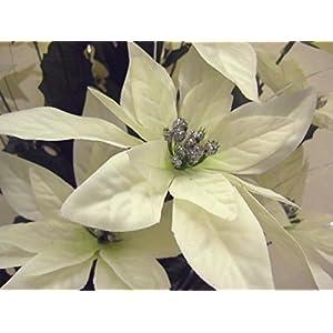 """Silk Flower Arrangements Christmas Poinsettia Bush 24 Artificial Silk Flower 24"""" Bouquet 030 Cream"""