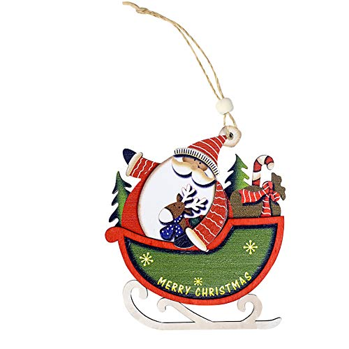 hwangli The New Christmas Decoration,Creative Sleigh Santa Claus Lovely Wooden Pendant Hanging Plaque Santa Claus ()