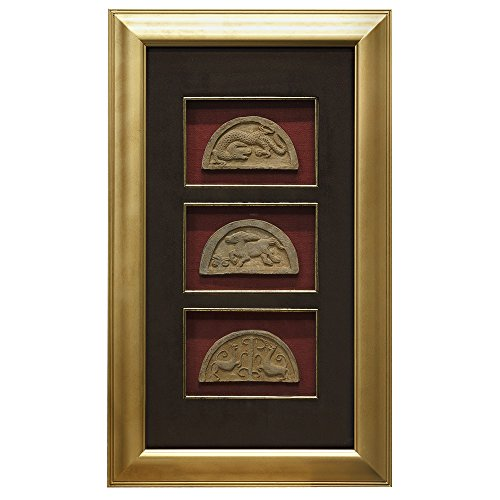 China Furniture Online Shadow Box, Framed 3 Stone Carvings Animal Motif Red and Black by ChinaFurnitureOnline