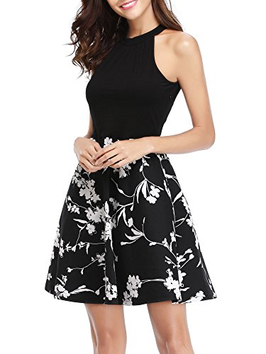 MSBASIC Women's Holiday Party Dress Vintage Floral Work Dress Black M - Holiday Party Suits Dresses