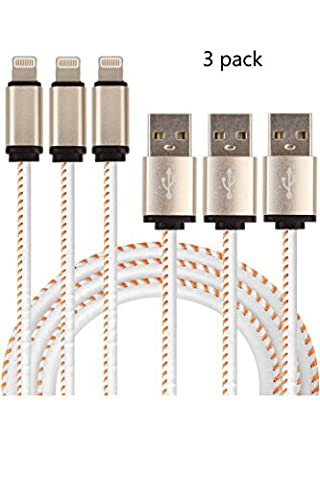 Charging Cable White Apple Iphone 7 / 7 plus / 6 / 6s / 6 Plus / 5 / 5c / 5s / SE iPad iPod Nano USB Phone Charger Cord 3 Pack Lightning Cables Gift Box (Used Apple Nano)