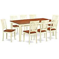 East West Furniture QUAV9-WHI-W 9 Piece Table with 8 Solid Wood Chairs Set