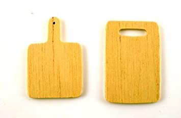 Dollhouse Miniature Wooden Cutting Board Set 2 Pieces IM65777