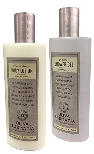 Organics Ginger Body Lotion (Baronessa Cali Oliva Farmacia Ginger Bergamot Shower Gel and Body Lotion Set 8.5 Fluid Ounces)