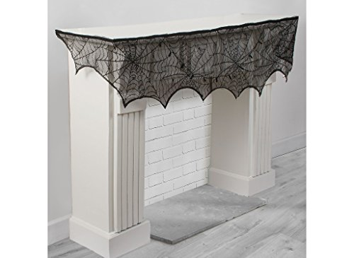 AMSCAN Lace Cobweb Mantel Scarf, Halloween Decorations, Party Props, 8 -