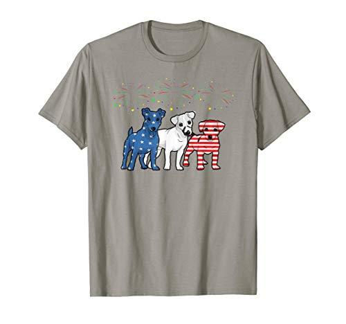 Cute 3 Jack Russells Fireworks Us Flag 4th July Shirt