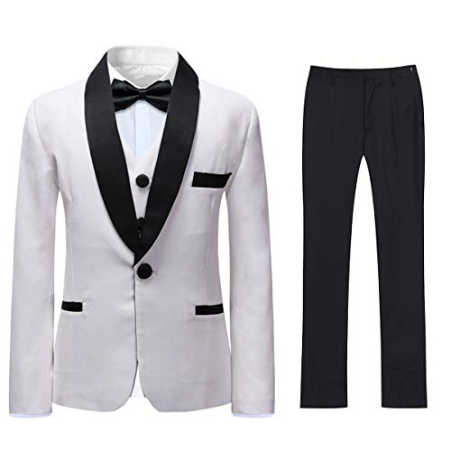 Boyland Boys Suits Slim Fit Shawl Lapel 3 Pieces Tuxedo Suit Jacket Vest Pants White Wedding Party Prom]()